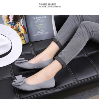 Women's Bowknot Pointed Toe Shallow Mouth Suede Flat Shoes - Black (Gray)