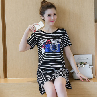 Women's Casual Striped T-Shirt Dress (Black stripes)