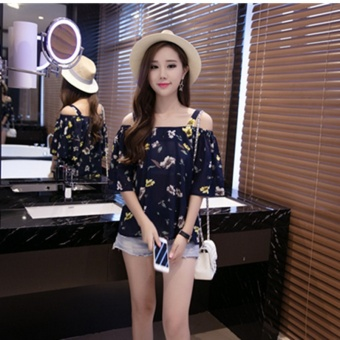 Harga Women's Chiffon Free Size Floral Pattern Off Shoulder Cami Strap Top - White - Dark Blue - Pink (Dark blue color)