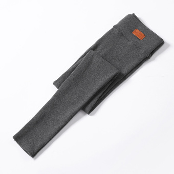 Women's Fleece-lined Thick Stretch High Waist Cropped Slim Fit Pants Color Varies (Dark gray color)