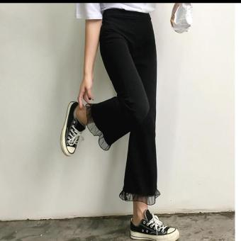 Women's Korean-style Chiffon Splice Bootcut Cropped Pants - Black