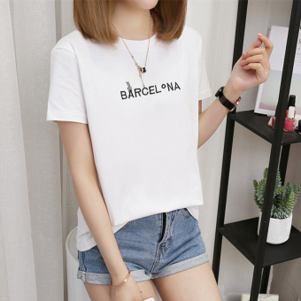 Women's Korean-style Plus Size Slimming Short Sleeve T-Shirt (378-BA embroidery-white)