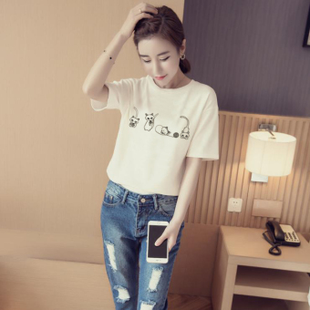 Women's Korean-style Simple Short Sleeve T-Shirt (White [four only Cat])
