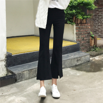 Women's Korean-style Slit Bootcut Cropped Pants - Black