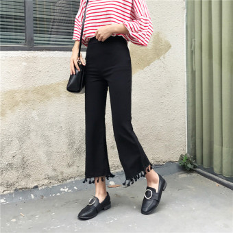 Women's Korean-style Tassel Bootcut Cropped Pants - Black