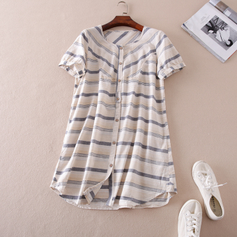 Women's Loose Striped Round Neck Cotton Short Sleeve Mid Length Shirt (Beige stripes)
