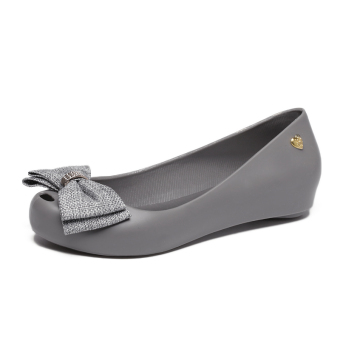 Women's Peep Toe Flat Jelly Shoes (Light gray)