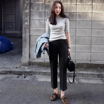 Women's Korean-style high-waisted wide-leg cropped pants