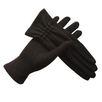 Women's Winter Warm Mobile Phone Touch Screen Gloves Black - intl