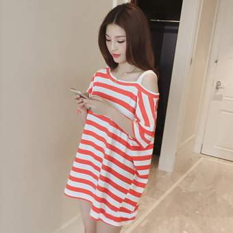 Word collar loose striped long section short-sleeved dress (Red)
