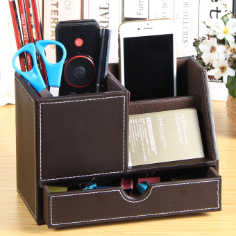 Harga YAPI Shi leather multi-functional storage box business card box (Coffee color large Pen Holder)