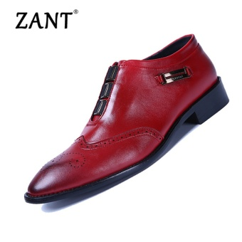 Harga ZANT Mens High Quality Oxford Shoes For Men Lace-Up Business Shoes Brand Men Wedding Shoes Red - intl
