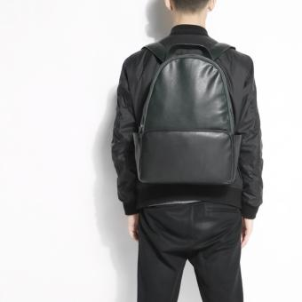 Zara Man faux lente large backpack ( black x army green )