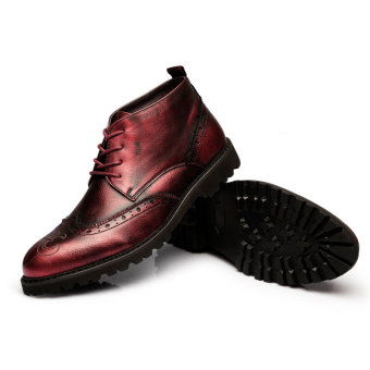 ZNPNXN Men's Fashion Ankle Boots (Red) - 4