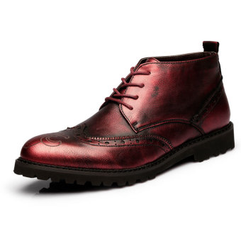 ZNPNXN Men's Fashion Ankle Boots (Red)