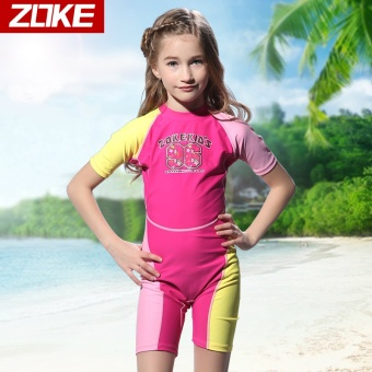Zoke girls sunscreen one-piece swimsuit pants (Rose/yellow _ 2)