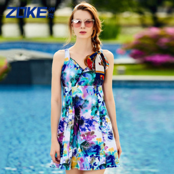Zoke swimsuit female conservative cover the belly piece Skirt Styleswimsuit Plus-sized fat mm floral Slimming effect spa swimsuit(Purple gray-4)