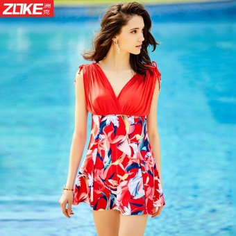 Zoke swimsuit female conservative piece Skirt Style boxershort-sleeved sunscreen small chest gather steel prop mother bubbleHot Spring swimsuit (Red Bottom color flower _ 1)