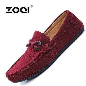 Harga ZOQI man's Slip-Ons&Loafers fashion cow suede leatherShoes(Red) - intl