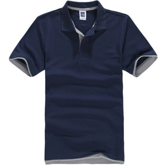 ZUNCLE Men's Polo Shirt Short Sleeve Golf Tennis Shirt (Navyblue+Gray)