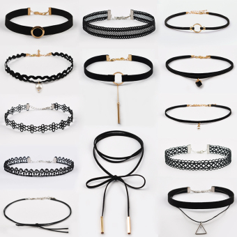 15 bar choker necklace collar Korean neck jewelry neck strap sexy neck chain lace necklace clavicle chain female