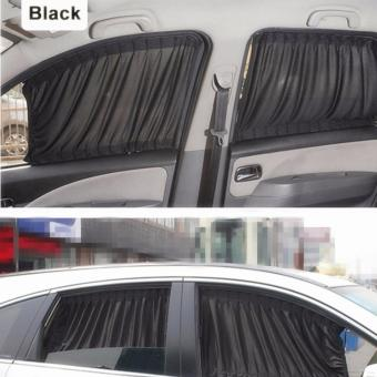 Harga 2 x 50s Car Sun Shade Window Curtain Black - intl