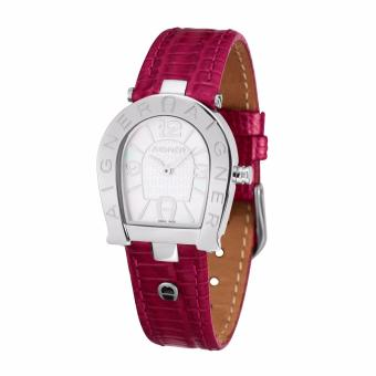 Aigner Acerra (A32295) - Red Leather Strap - Silver Tone Case