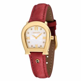 Aigner Messina (A40239) - Red Leather Strap - Gold Tone Case