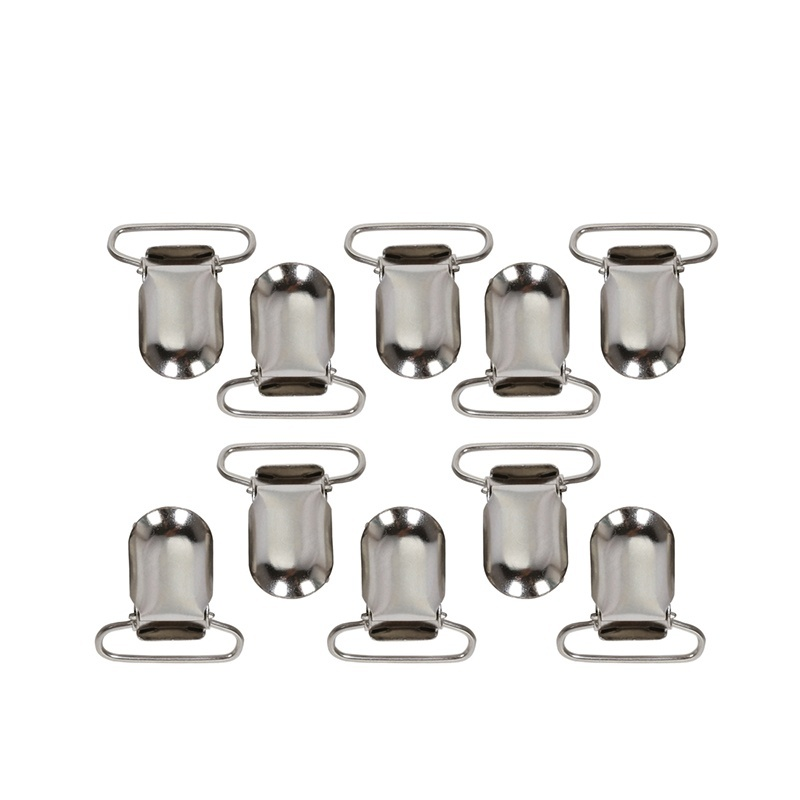 Andux 25pcs/set Duckbill buckle Lead Metal Pacifier Paci Suspender Holder Clips Square Insert Hook Holder YJK-01 Silver - intl