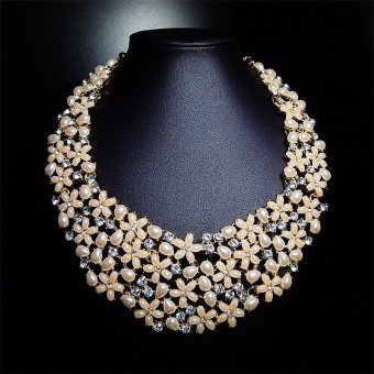 Harga Big Fashion Inlaying Hundred Rhinestone Tiny Pearl ChokerNecklace(Export)