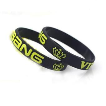Harga BIGBANG Embossed Words Silicone Wristbands Rubber Bracelet (Black)
