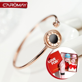 Carlo us jewelry simple Roman letters plated color gold titanium steel opening bracelet female Japanese and Korean fashion bracelet accessories