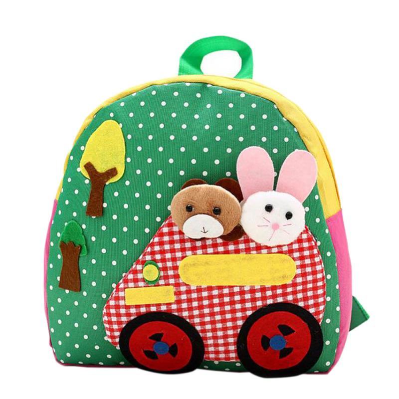 Cartoon Rabbit and Bear Pattern Handmade Kids Child Small Oxford Cloth Schoolbag School Bag Backpack Green