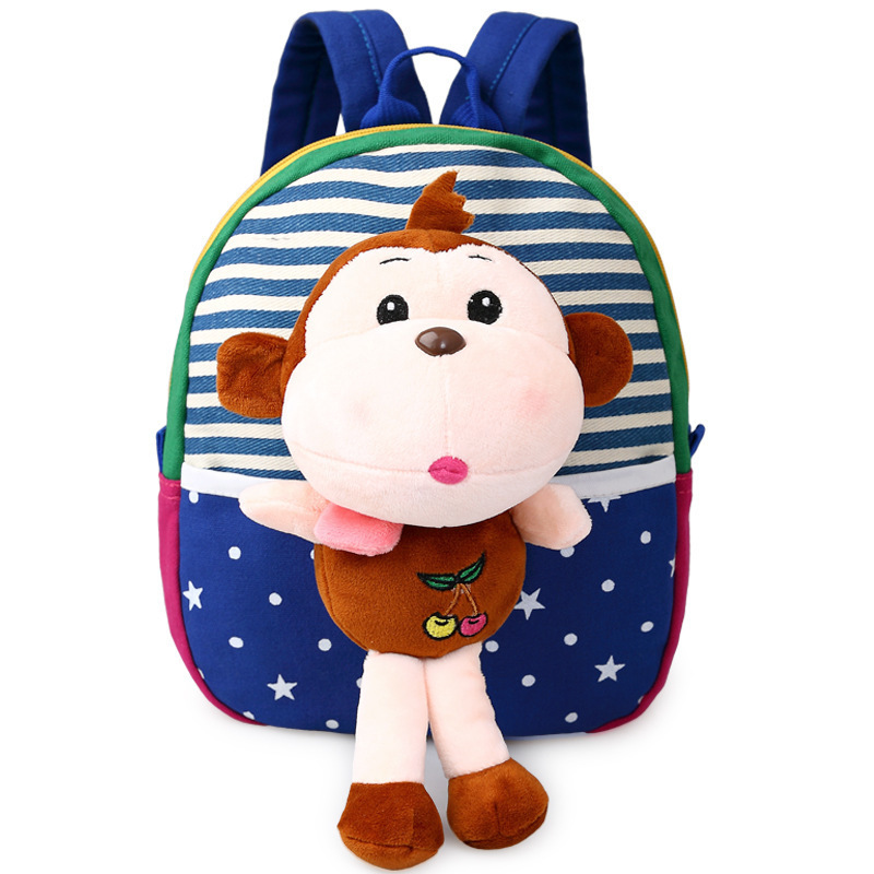 Childrens school bags for boys and girls in kindergarten kids 1-3 years baby bag cute backpack Blue Monkey