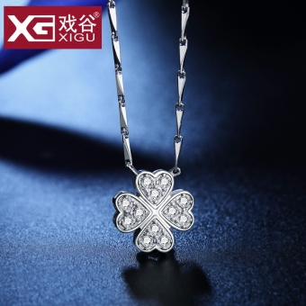 Clover necklace female sterling silver clavicle chain 999 fine silver day Korean-style pendant to send girls gift lettering