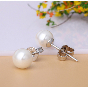 Cultured Freshwater Pearl 925 Silver Stud Fashion Women ElegantEarrings - 2