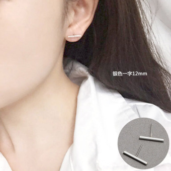 Day Korean-style Cool simple a word stick earrings Ms. Day Korean literary temperament sweet wild ear jewelry