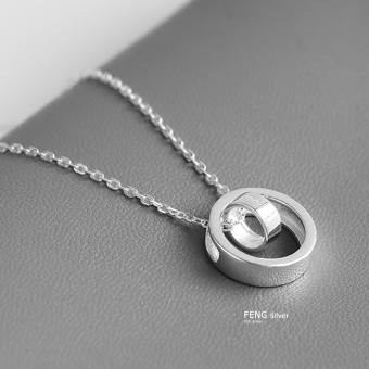 Double Ring fashion female double ring pendant necklace