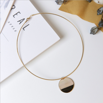 European and American jewelry simple metal sequins necklace collar female personality clothes accessories short paragraph pendant wild clavicle chain