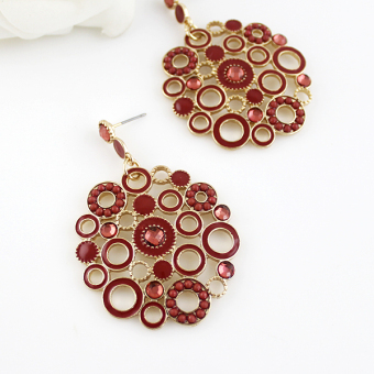 Feelontop Vintage Style Hollow Out Elegant Enamel Round Drop DangleEarrings