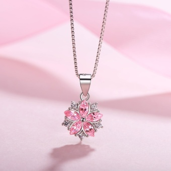Female 925 small cherry pink silver necklace