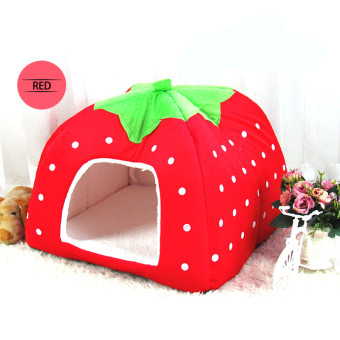 Foldable strawberry dog bed Pet Sleep Bed RED-S