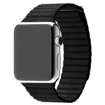 Genuine Leather Loop Watch Band Strap Magnetic Buckle ForAppleWatch 42mm Ba - intl
