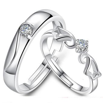 Harga Fashion Lovers Rings Silver Adjustable Couple Ring Jewelry E005 - intl