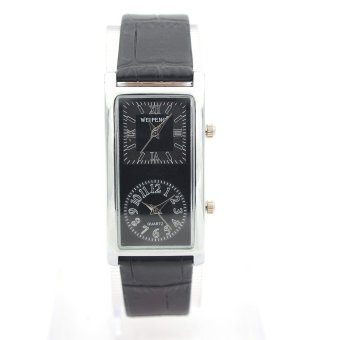Harga New 2 Dual Time Zone quartz Black Faux Leather Women Wrist Watch Nice Gift luxury timepiece (EXPORT)