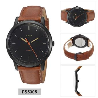 Fossil Watch Brown Stainless-Steel Case Leather Strap Mens NWT + Warranty FS5305