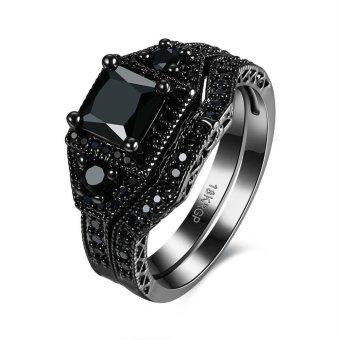 Harga 2pcs in 1 Set Cubic Zircon Rings Sets For Men Women Couples(Black) - intl