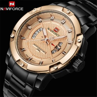 2017 New NAVIFORCE Mens Watches Top Brand Luxury Fashion Casual Men Quartz Watch Stainless Steel Waterproof Gold Wristwatch - intl