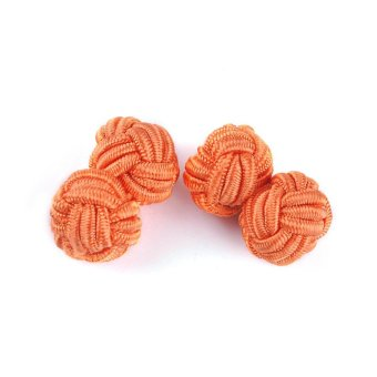 Harga Silk Knot Cufflinks Men's Classic Rope Ball Knot Cuff Links Silk Knots Cuff Link Orange - intl