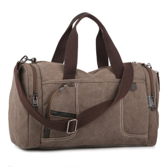 Fashion Canvas Bag Single Shoulder Bag Men/Women Travel Tote(Coffee)